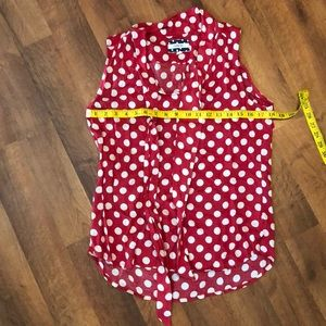 Red Sleeveless Shirt with White Polka Dots